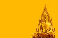 Buddha auf orange Hintergrund Lizenzfreie Stockfotos
