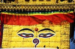 Buddha-Augen oder -klugheit mustert an Swayambhunath-Tempel oder am Affe-Tempel Lizenzfreie Stockfotos