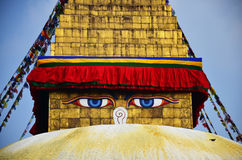 Buddha-Augen oder -klugheit mustert an Swayambhunath-Tempel oder am Affe-Tempel Lizenzfreies Stockfoto