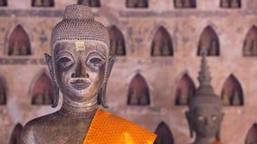 Buddha avbildar på Wat Si Saket i Vientiane, Laos Arkivfoton
