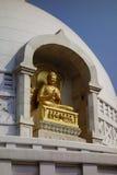 Buddha błogosławieństwo przy stupą Rajgir Zdjęcia Royalty Free