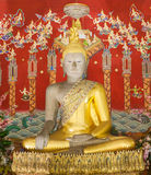 Buddha and background painting in pagoda  temple ayutthaya Stock Image