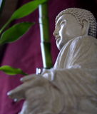 Buddha and Bamboo. On red background Royalty Free Stock Photography