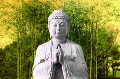 Buddha with bamboo Royalty Free Stock Photos