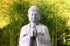 Buddha with bamboo Royalty Free Stock Photos
