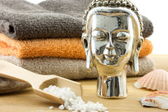 Buddha and bath products Royalty Free Stock Photography