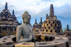 Buddha bei Borobudur, Yogyakarta, Indonesien stockfotografie