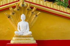 Buddha bianco in Wat Sangkat Rattana Khiri su Khao Sakae Krang Mo Immagine Stock