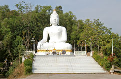 Buddha big white statue. Giant big Buddha statue at Wat Tha Ton in Thailand Stock Image