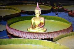 Buddha-Bild auf Lotosblatt stockbild