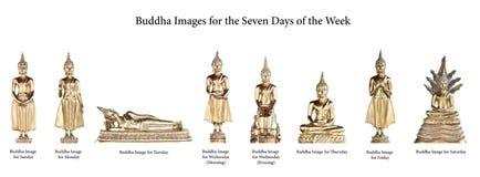 Buddha-Bilder für die sieben Tage Lizenzfreies Stockfoto