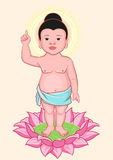 Buddha Birthday. Little Buddha stands on lotus flower Royalty Free Stock Images