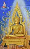 Buddha in blue background. Stock Photos