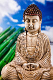 Buddha and blue sky background, vivid colors, natural tone Stock Photography