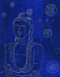 Buddha Blue and White original Drawing Royalty Free Stock Images