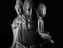 Buddha, Bodhisattva i Guan Yin/Guanshiyin Ksitigarbha i Avalokitasvara/rzeźbimy Zdjęcie Stock