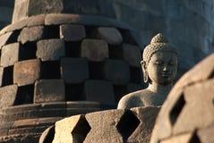 Buddha at borobudur temple. At sunrise Stock Photos