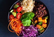 Vegetarian Buddha bowl-clean eating vegan glutenfree. Buddha bowl consisting of cherry tomatoes,cucumber ,carrots,mango,purple cabbage, brown rice,spinach and Stock Images