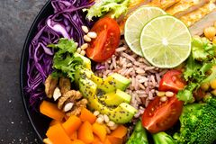 Buddha bowl dish with chicken fillet, brown rice, avocado, pepper, tomato, broccoli, red cabbage, chickpea, fresh lettuce salad, p. Ine nuts and walnuts. Healthy Stock Photos