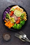Buddha bowl dish with chicken fillet, brown rice, avocado, pepper, tomato, broccoli, red cabbage, chickpea, fresh lettuce salad, p. Ine nuts and walnuts. Healthy Royalty Free Stock Photo
