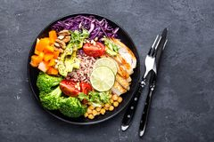 Buddha bowl dish with chicken fillet, brown rice, avocado, pepper, tomato, broccoli, red cabbage, chickpea, fresh lettuce salad, p. Ine nuts and walnuts. Healthy Royalty Free Stock Image