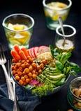 Buddha bowl, healthy and balanced vegan meal. Buddha bowl of mixed vegetables, healthy and nutritious vegan meal Stock Images