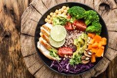 Buddha bowl salad top view stock photography