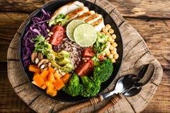 Buddha bowl salad top view royalty free stock images