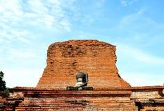 Buddha and bricks wall at wat Mahathat Stock Photo