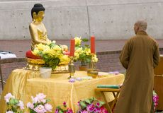 Buddha and Buddhist. Statue of Buddah and Buddhist Stock Image