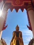 Buddha of Buddhist devotion. Gold Buddha of Buddhist devotion blue background royalty free stock photography