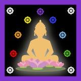 Buddha and buddhist symbols. Buddha in meditation and Dharma wheel Royalty Free Stock Image