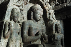 Buddha at Carpenter's cave -Ellora,India Royalty Free Stock Image