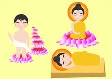 Buddha. Cartoon and vector design stock illustration