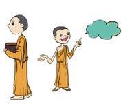 Buddha cartoon vector illustration of young monk cartoon Royalty Free Stock Images