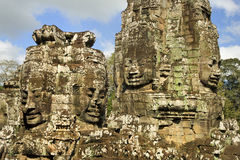Buddha Carvings in Bayon Temple Stock Images