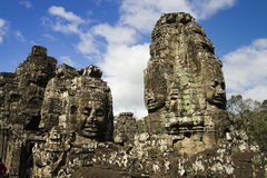 Buddha Carvings in Bayon Temple Royalty Free Stock Photography