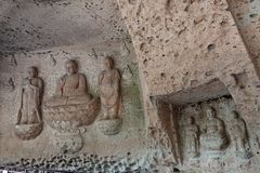 Buddha carvings at Oya ji temple near Utsunomiya in Japan. Three Buddhas of Shaka, the Three Buddhas of Yakushi at Oya Temple 大谷寺. Ōyaji is a stock images
