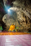 Buddha in cave. At tamphajom tample chiangrai thailand Royalty Free Stock Images