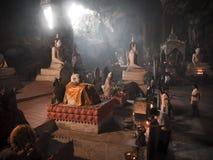 Buddha in cave of Wat Thum Ku Har Pimuk Stock Image