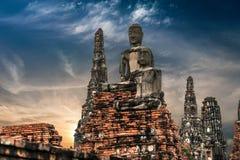 Buddha at Chai Watthnaram temple ruins. Ayutthaya, Thailand Royalty Free Stock Photo