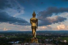 Buddha che si leva in piedi su una montagna Fotografie Stock