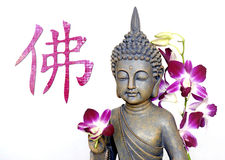 Buddha and chinese Symbol for Buddha Royalty Free Stock Photo