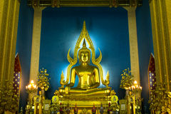 Buddha in church at Wat Benchamabophit. Buddha of Wat Benchamabophit is a temple compound of profound beauty and religious importance.Wat Benchamabophit is a Royalty Free Stock Photos