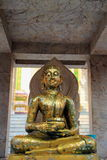 Buddha. Close up the old bronze carving Buddha royalty free illustration