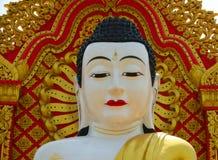 Buddha closeup of Global Vipassana Pagoda. Main Buddha face closeup inside Vipassana center Royalty Free Stock Photo