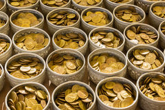Buddha coin in bolw prepare for donate in public temple in Thail Stock Photos