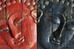 Buddha - colore rosso ed azzurro Fotografia Stock