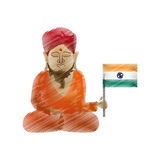 Buddha colored hand draw sitting with indian flag Royalty Free Stock Images