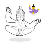 Buddha coloring book. Buddha meditating. Indian god buddha on wh Royalty Free Stock Photos